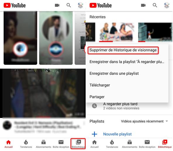 Effacer vidéos de l'historique via l'application YouTube sur Android