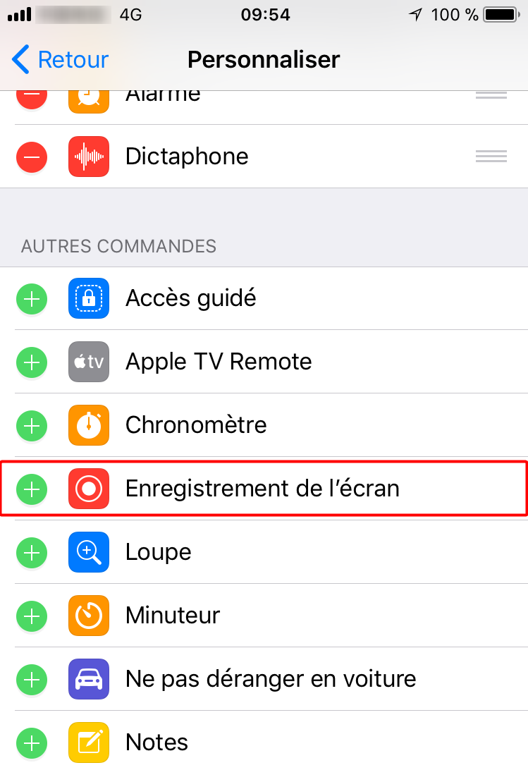 Comment filmer son écran d'iPhone/iPad -étape 2