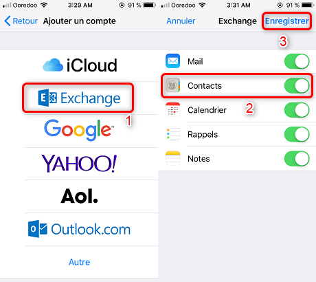 Synchroniser contacts Outlook avec Exchange