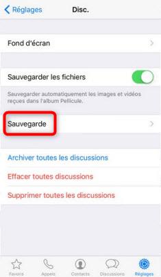 Sauvegarder photos WhatsApp via iCloud
