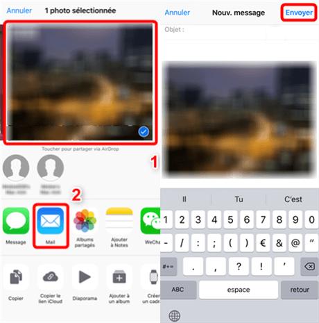 Envoi de la photo iPhone via le mail