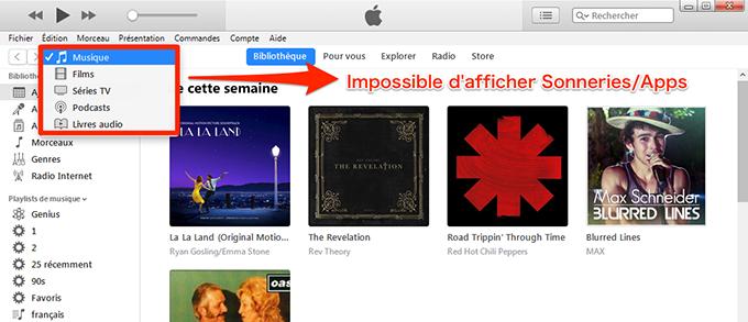 Sonnerie d'iPhone à iPhone - iTunes n'affiche pas Sonnerie