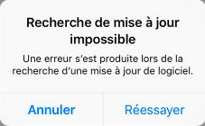 Message sur une erreur de mise à jour iOS 13