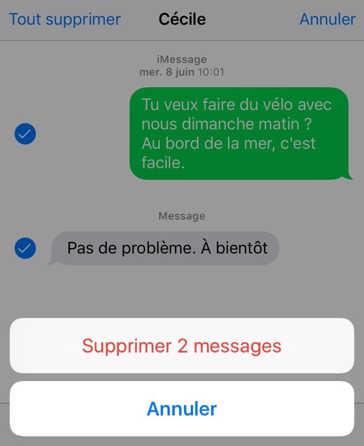 Supprimer les messages pour faire de la place pour iOS 11.2/11.1