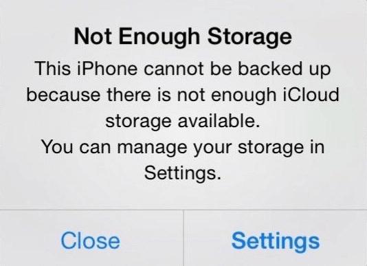 Espace de stockage iCloud saturé