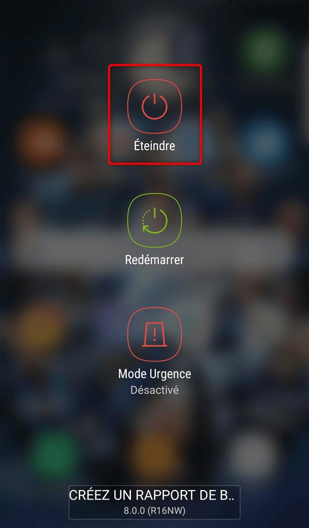 Menu pour éteindre le téléphone – étape 1