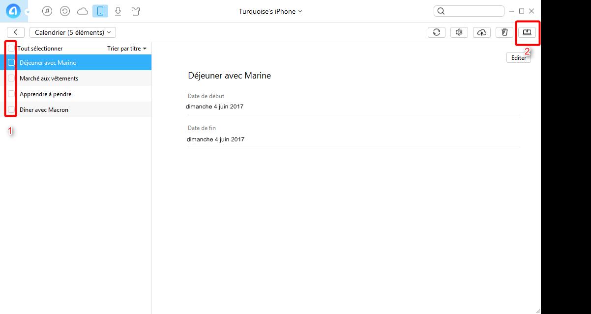 Transférer simplement vos calendriers iPhone vers PC - étape 3