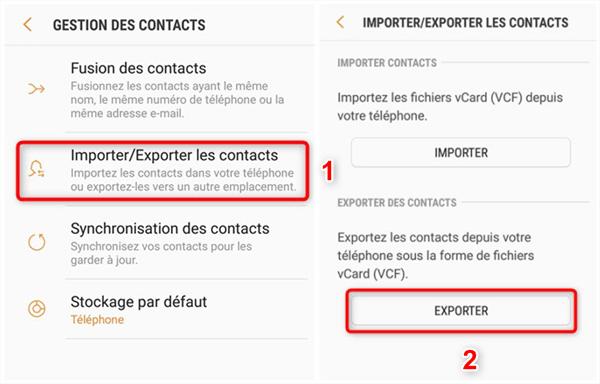 Exportation des contacts