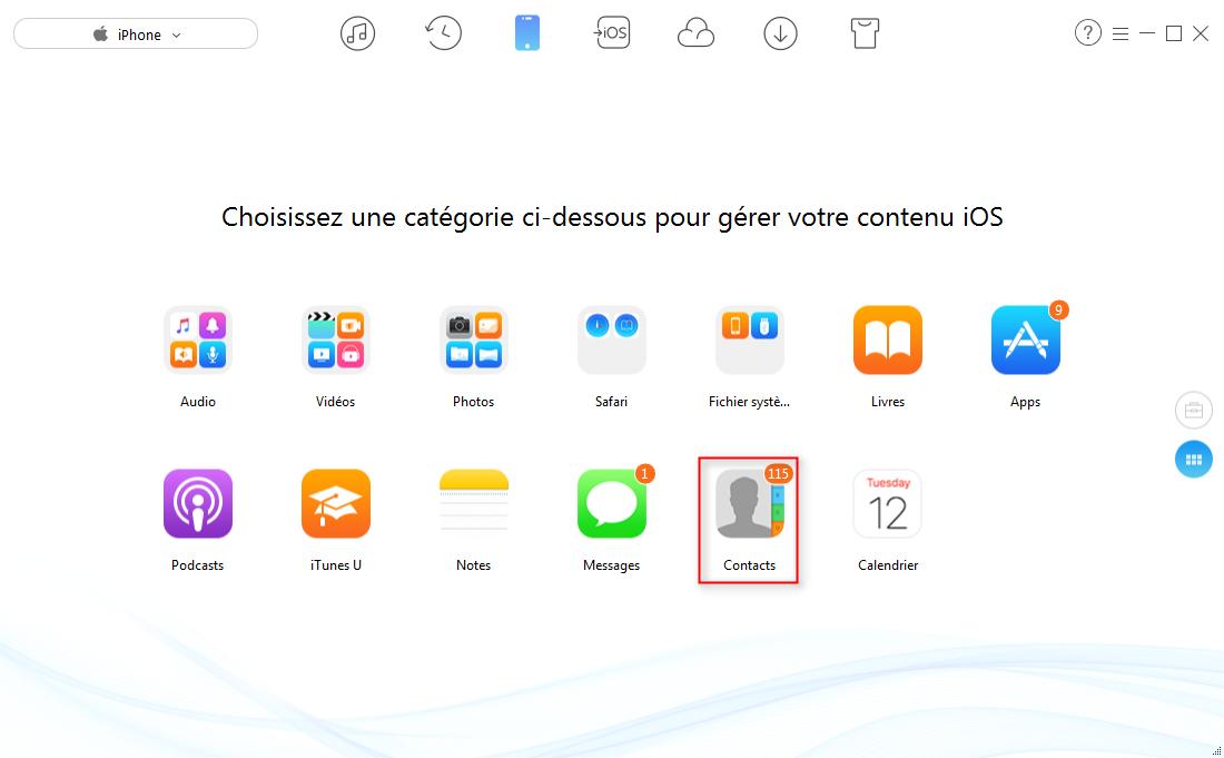 Exporter les contacts de l'iPhone 6/6s (Plus) avec AnyTrans – étape 2