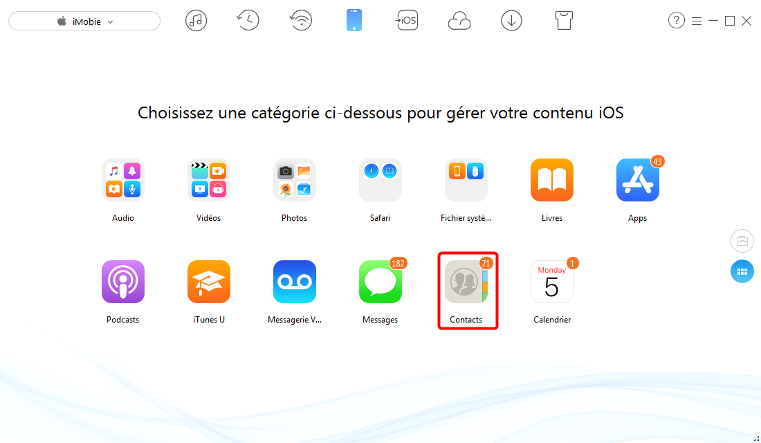 Exporter les contacts de l'iPhone 6/6s (Plus) avec AnyTrans – étape 2