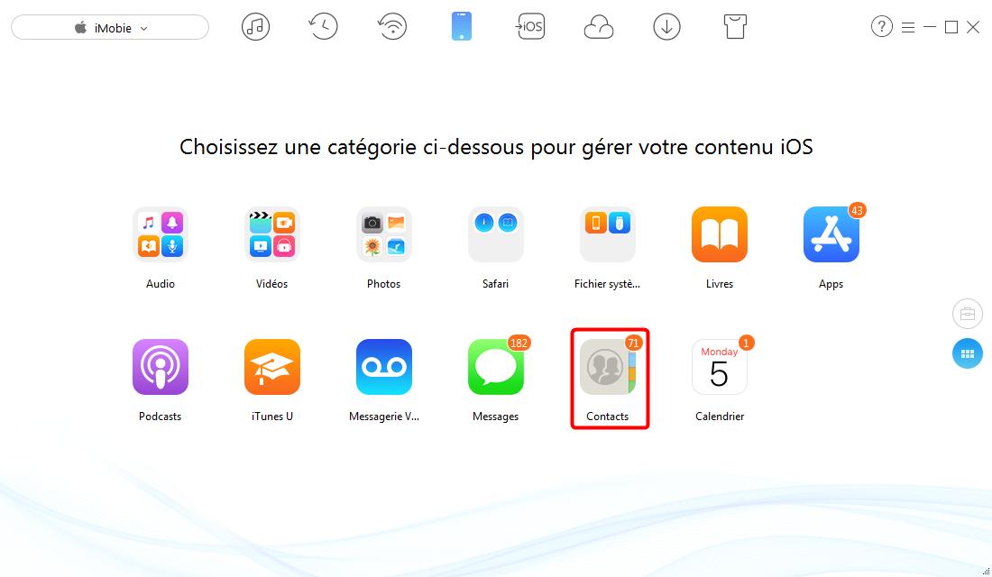 Exporter les contacts de l'iPhone 6/6s (Plus) avec AnyTrans pour iOS – étape 2