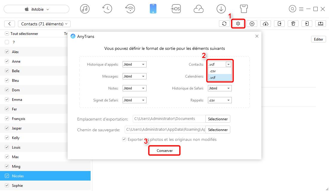 Comment transférer mes contacts sur mon PC