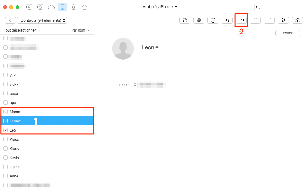 Transférer les contacts iPhone 8 vers ordinateur - étape 3