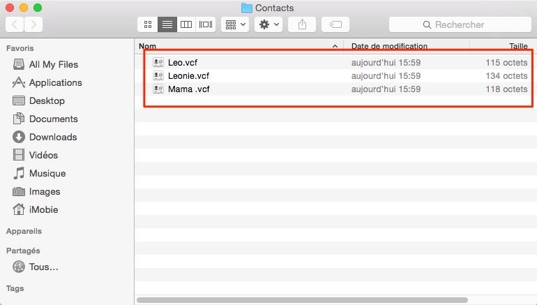 Exportation des contacts iPhone - étape 4