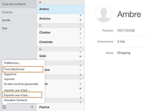 Exporter iPhone Contacts au format vCard/VCF avec iCloud