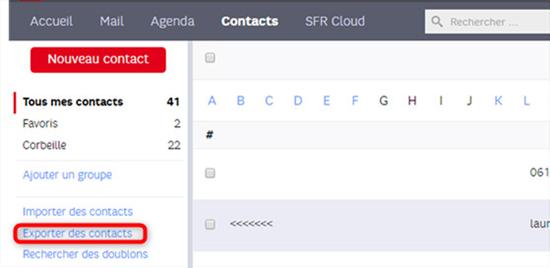 Récupération des contacts via SFR Mail