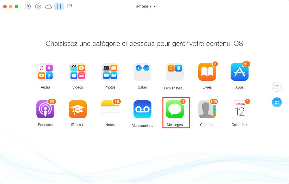 Enregistrer SMS iPhone au format texte brut, pdf ou html - étape 1