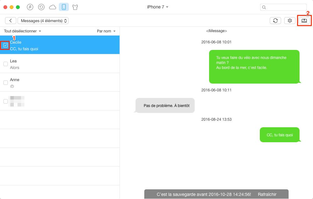 Sauvegarder SMS iPhone au format texte brut sur l'ordinateur - étape 3