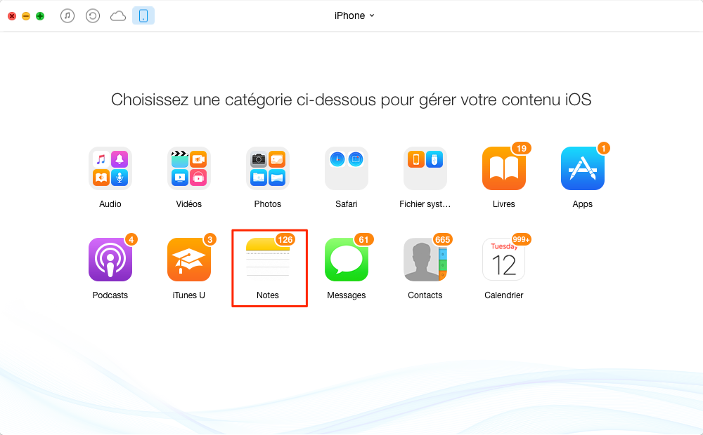 Exporter facilement les notes iPhone vers ordinateur - étape 3