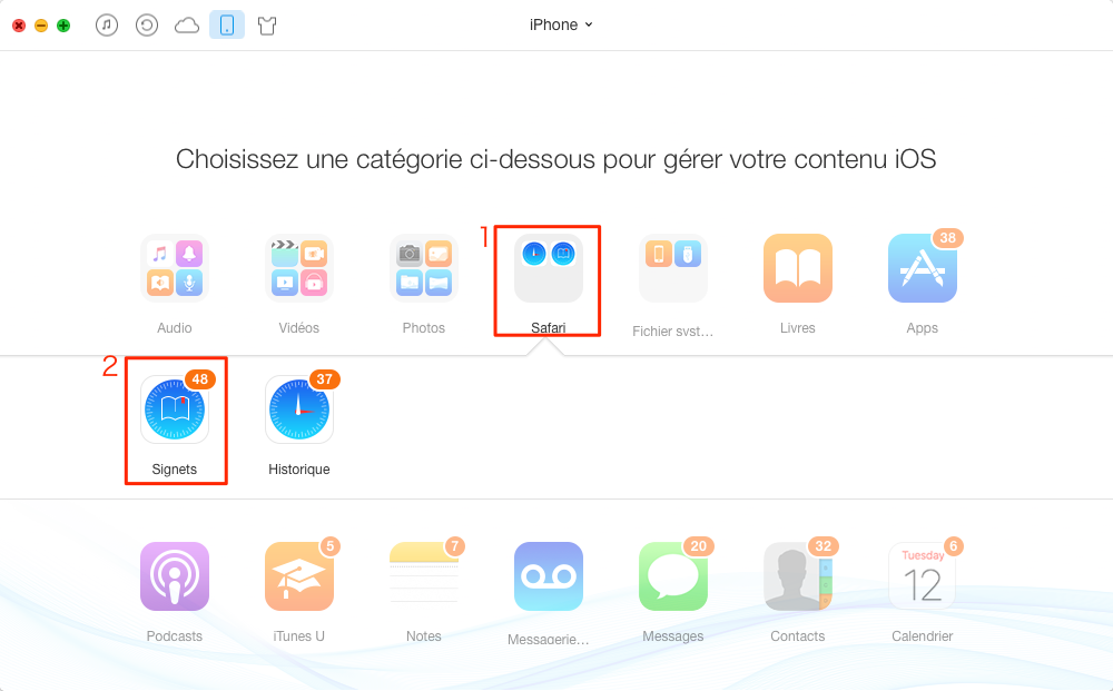 Comment exporter signets safari sur iPhone - étape 2