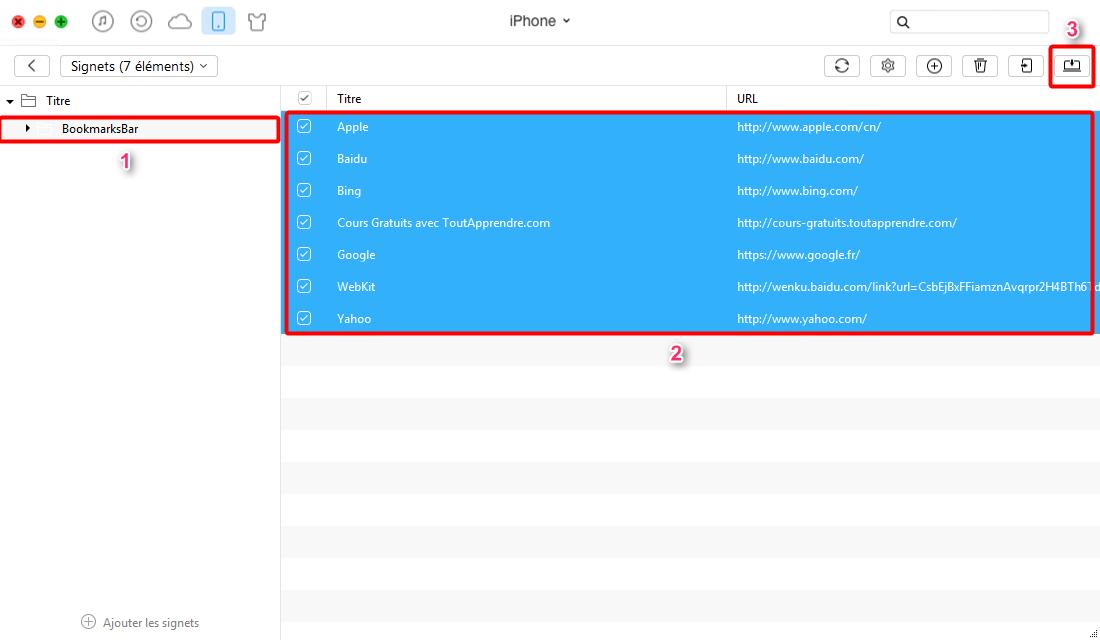 Exporter des signets de l'iPhone avec AnyTrans - étape 3