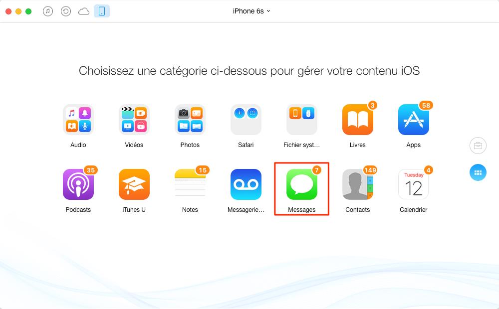 Exporter des SMS de l'iPhone 6 /6s à l'ordinateur – étape 2