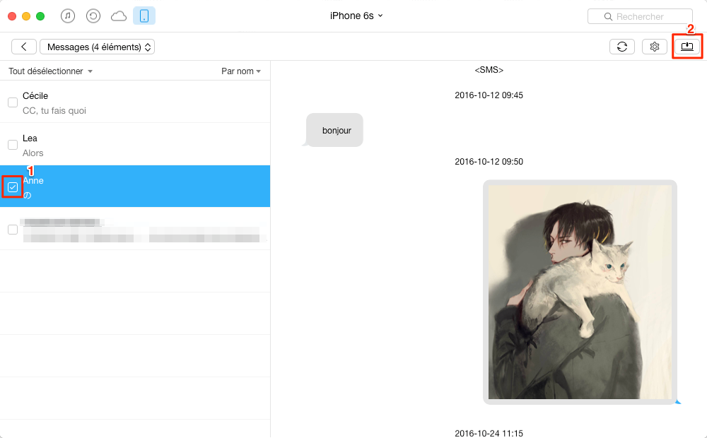 Exporter des SMS iPhone 6 /6s à l'ordinateur avec AnyTrans – étape 3