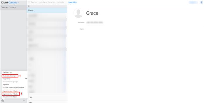 Exporter des contacts iCloud