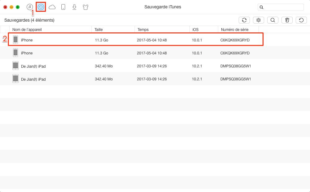 Méthode efficace à extraire les contacts iTunes vers ordinateur - étape 1