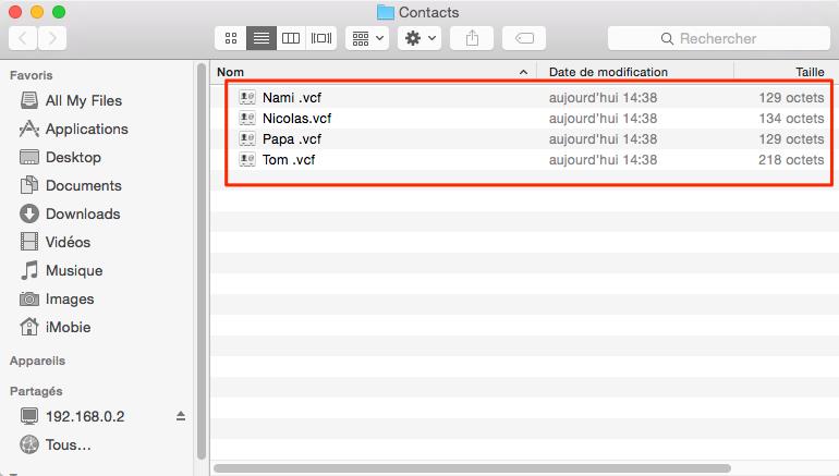 Récupérer contacts depuis sauvegarde iTunes vers ordinateur - étape 3