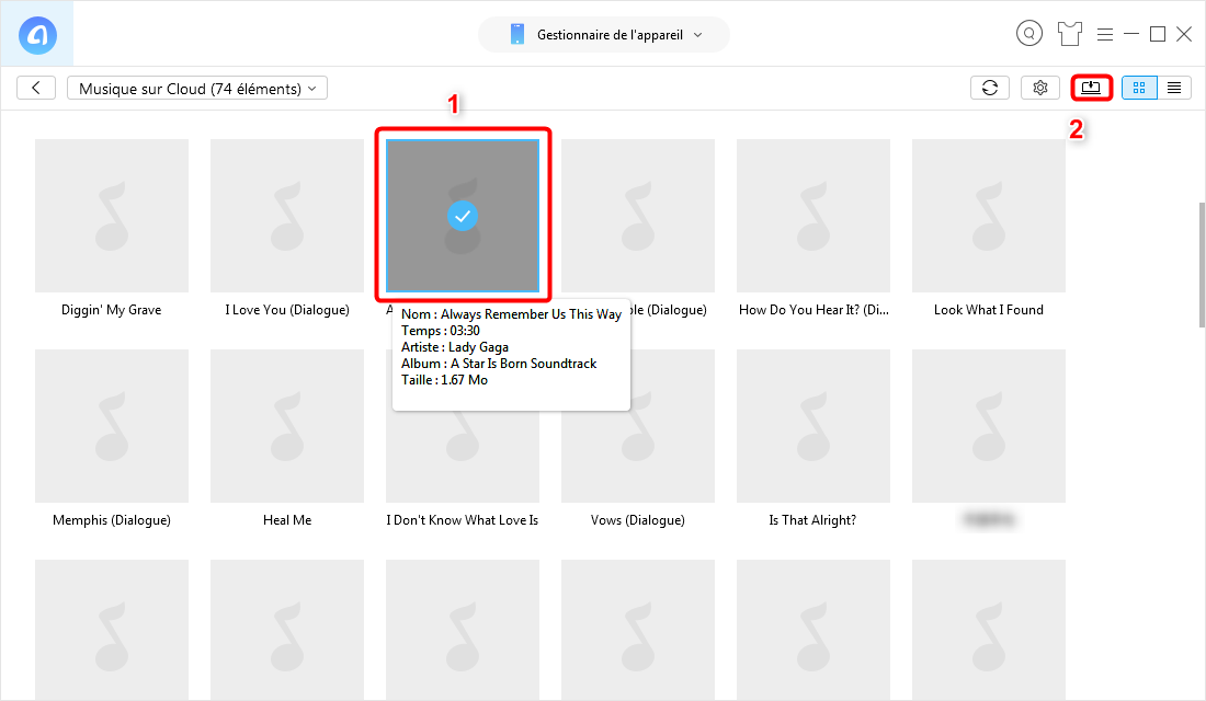 Comment récupérer la musique sur Cloud