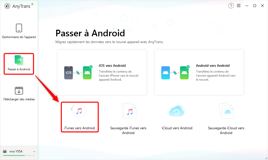 Faciliter le transfert d'iTunes vers Android- étape 1