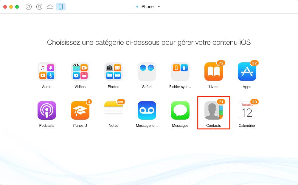 Importer les contacts d'un iPhone vers un autre – étape 2