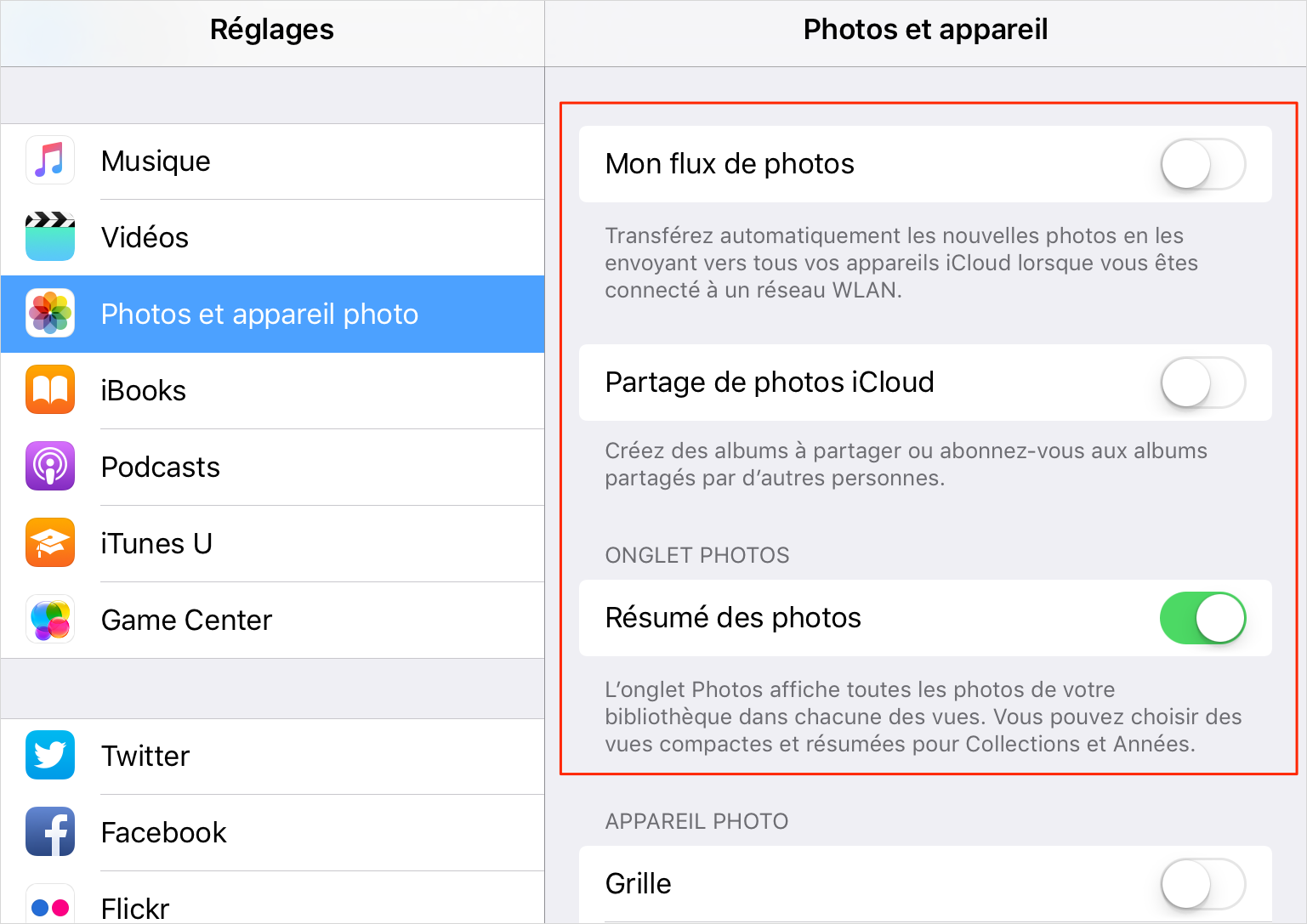 Comment faire plus de place sur iOS Devices 9 - Désactiver Flux de photos