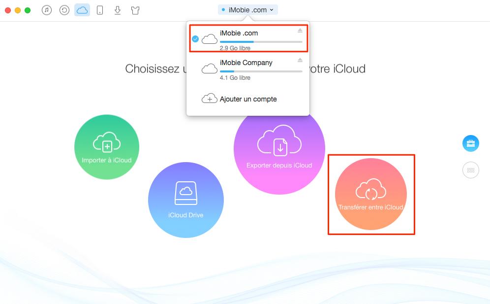 Fusionner des comptes iCloud – étape 2