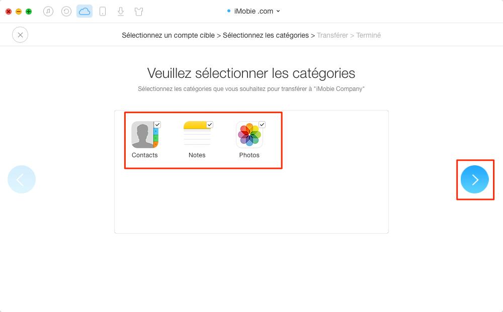 Fusionner des comptes iCloud en un seul – étape 4