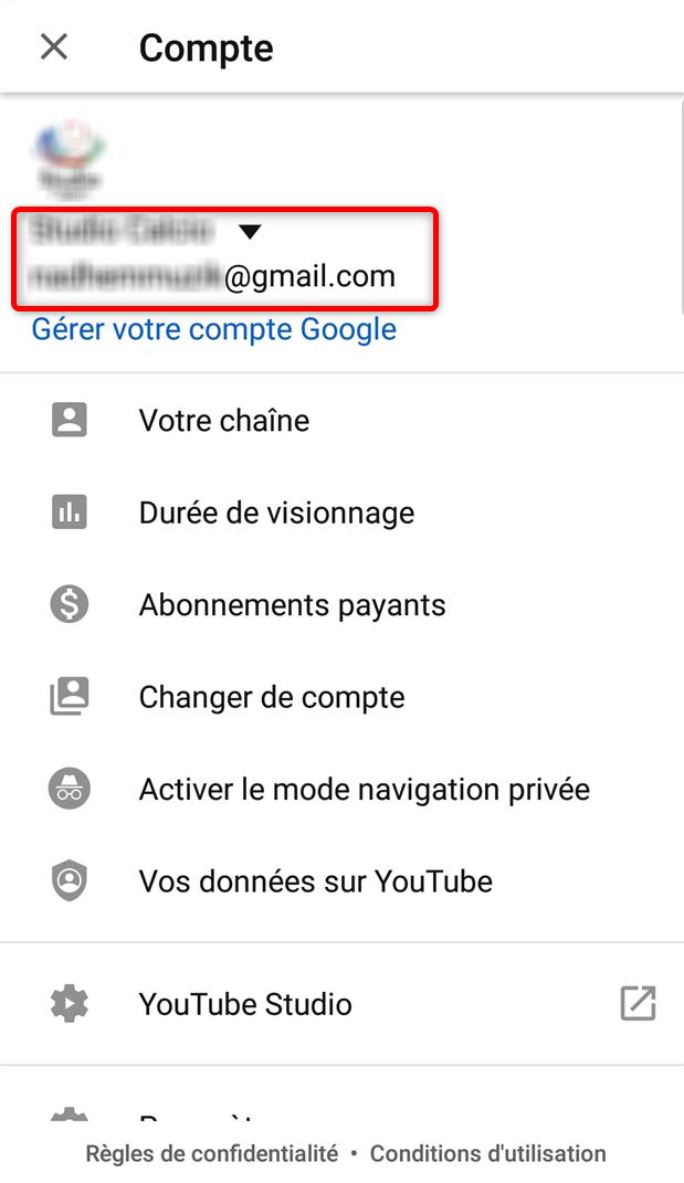 Gérer les paramètres du compte Youtube - étape 2