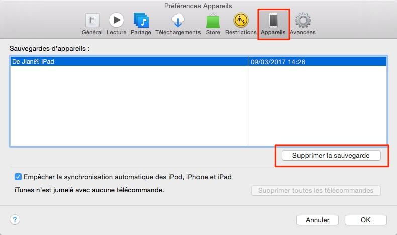 Gérer les sauvegardes iTunes sur ordinateur