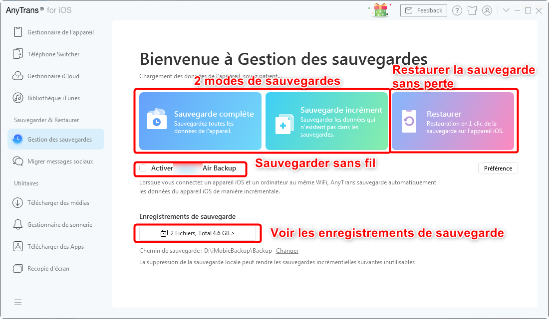 Gestion de sauvegarde iPhone sans iTunes