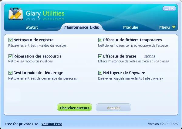 Recherche des erreurs avec Glary Utilities