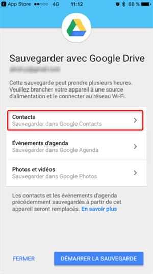 Sélection des contacts dans Google Drive
