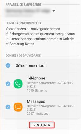 Restaurer la sauvegarde sur le téléphone Samsung