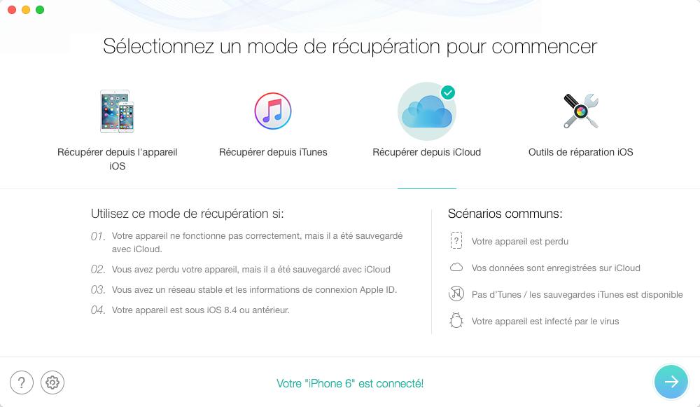 Comment restaurer des données depuis iCloud – étape 1