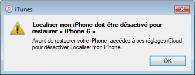 "Desactiver ""Localiser mon iPhone"""