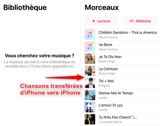 Aperçu de l'App Musique