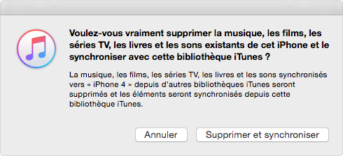 Fenêtre Pop-up d'iTunes