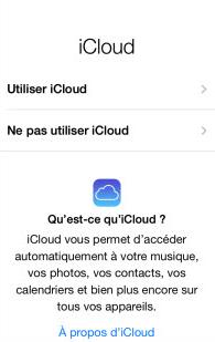 Choisissez de configurer ou non la fonctioniCloud