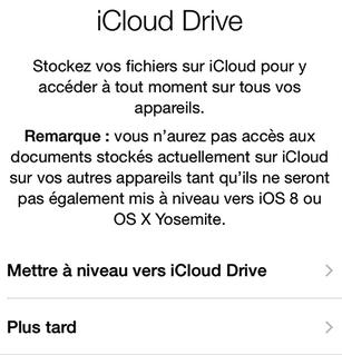 Choisissez la mise à jour ou non iCloud Drive