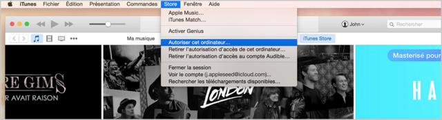 Avant de transférer les achats à l'iTunes, autoriser d'abord cet ordinateur