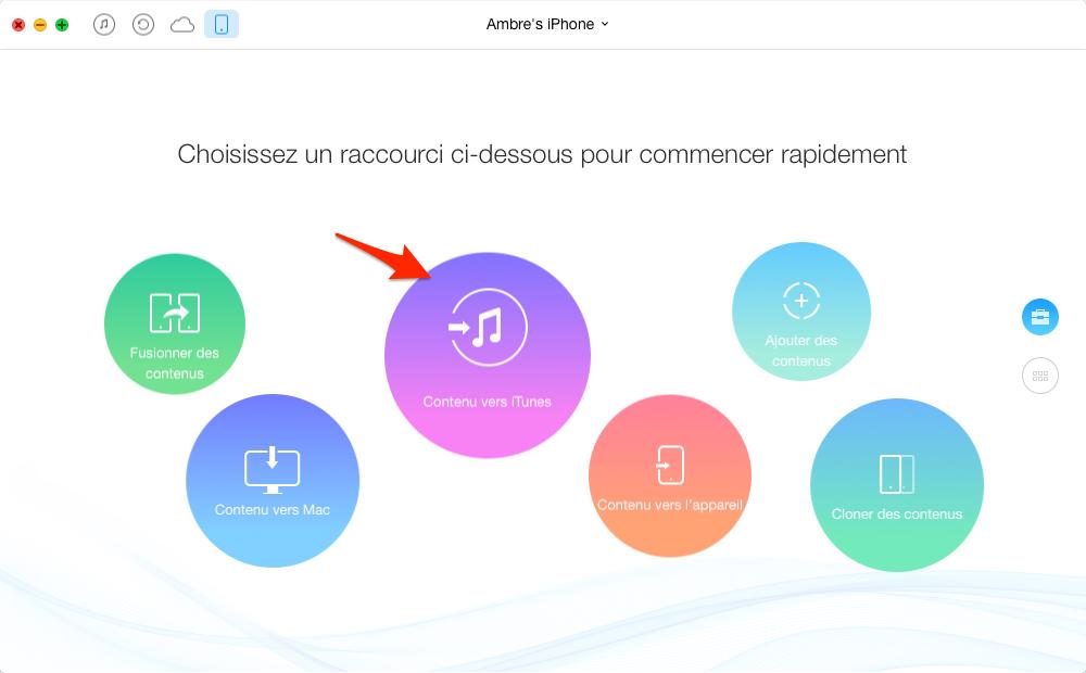 Transfert de musique d'iPhone vers iTunes – étape 1